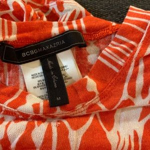 BCBG MAXAZRIA ORANGE AND WHITE BLOUSE